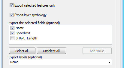 Check selected features, select attribute fields and label field for export to KML
