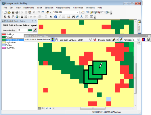 Grid & Raster Editor for ArcMap, pixel edit with pencil/freehand and pen size of 3