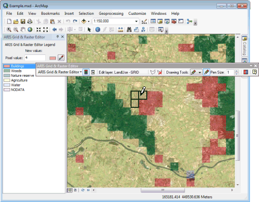 Grid & Raster Editor for ArcMap, edit layer with tranparency set and a background layer in ArcGIS Desktop